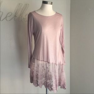 Simply Couture Pink Lace Tunic Embroidered Large